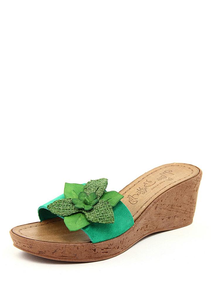 Miss Butterfly Leder-Pantoletten in Grün -66% | Größe 37 Hohe Pantoletten Sale Angebote Terpe
