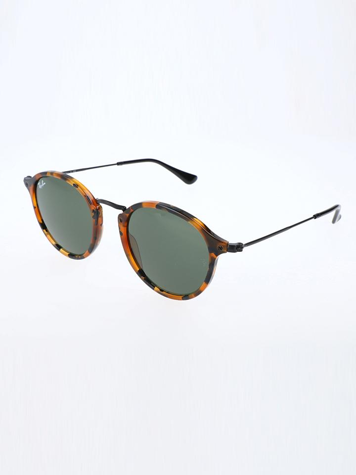 Ray Ban Damen-Sonnenbrille ´´Round Fleck´´ in Havana Schwarz -44 Größe 49 Sonnenbrillen