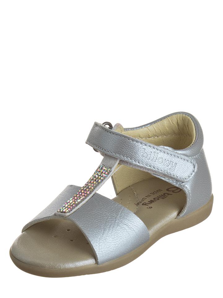 Billowy Leder-Sandalen in Silber - 50% | Größe 23 Babysandalen jetztbilligerkaufen