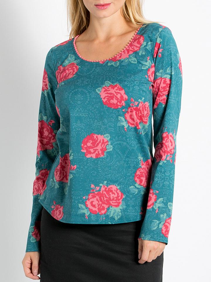Blutsgeschwister Shirt ´´Pompom Polka´´ in Petrol/ Rot -65% | Größe XS Langarm Tops Sale Angebote Guhrow