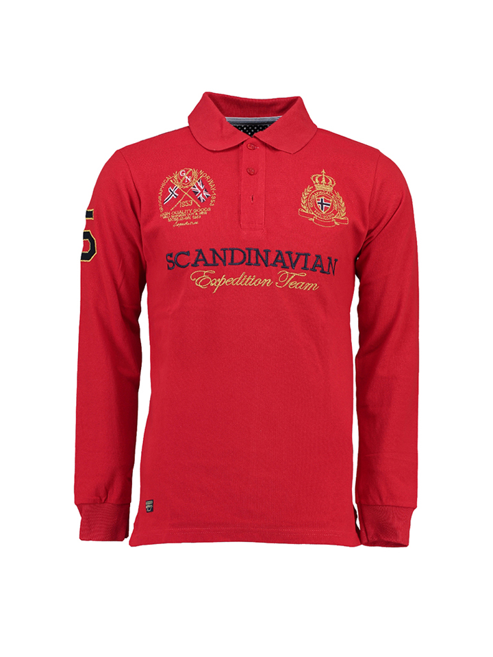 Geographical Norway Poloshirt ´´Kevin´´ in Rot -69% | Größe S Langarm Poloshirts Sale Angebote Tettau