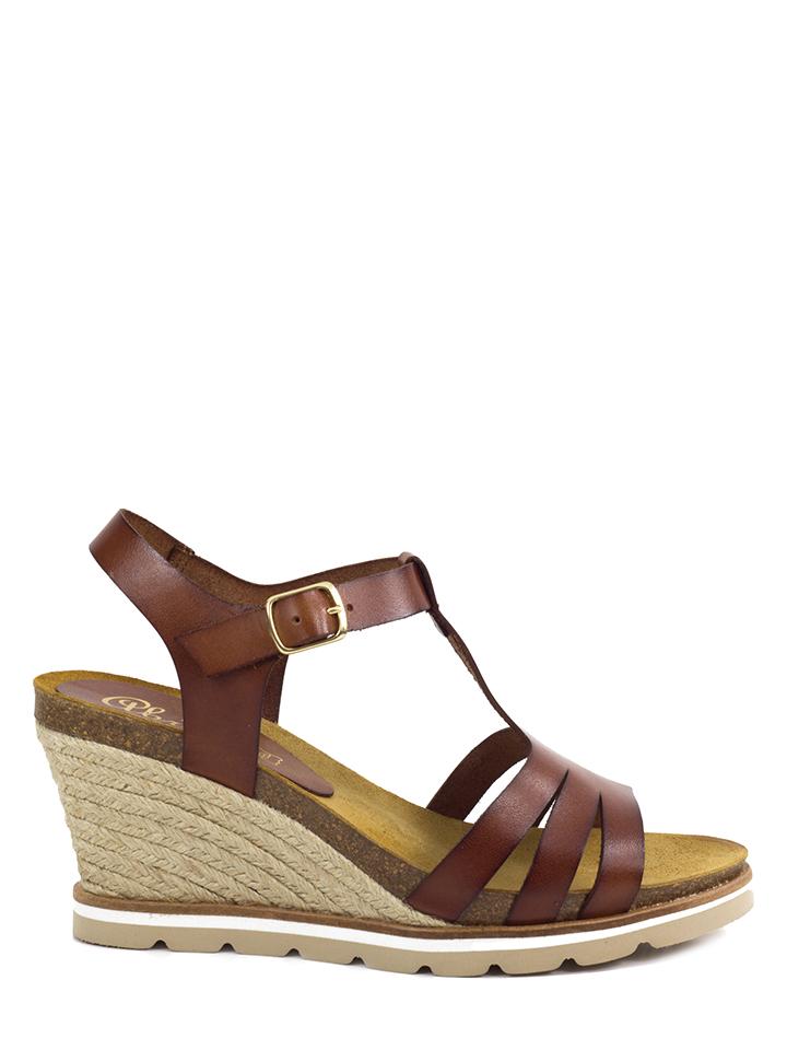 Abril Flowers Leder-Keilsandaletten in Braun - 66% | Größe 38 Damen sandalen