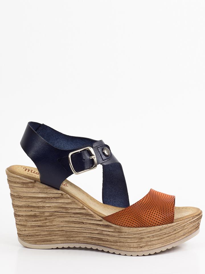 Mia Loé Leder-Keilsandaletten in dunkelblau -56% | Größe 40 Hohe Sandaletten Sale Angebote