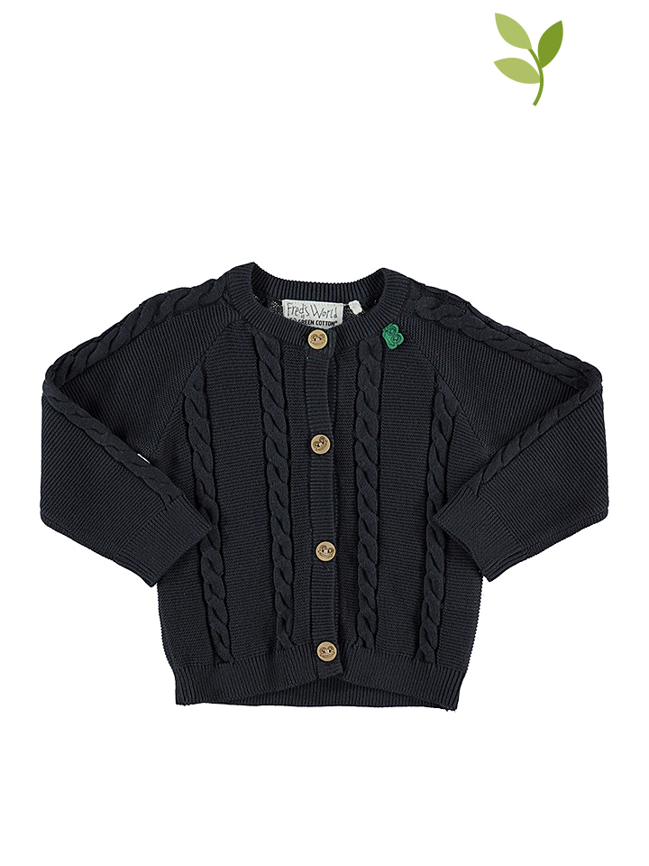Hosena Angebote Green Cotton Cardigan in Anthrazit - 55% | Größe 92 Babypullover