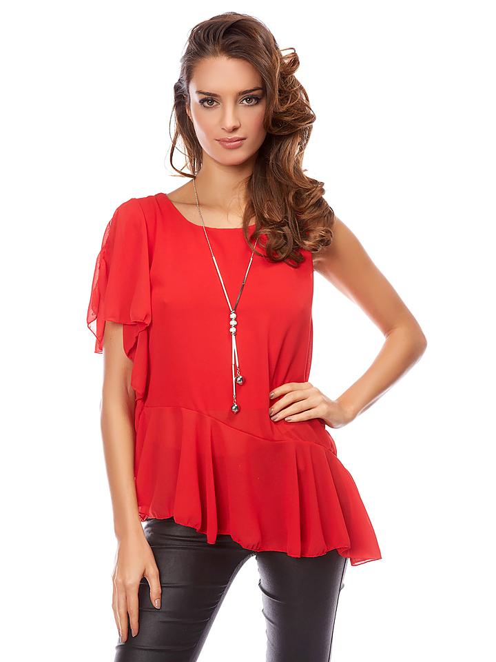 Uniq Shirt ´´Rani´´ in Rot -80% | Größe 34 Kurzarm Tops Sale Angebote Schwarzheide