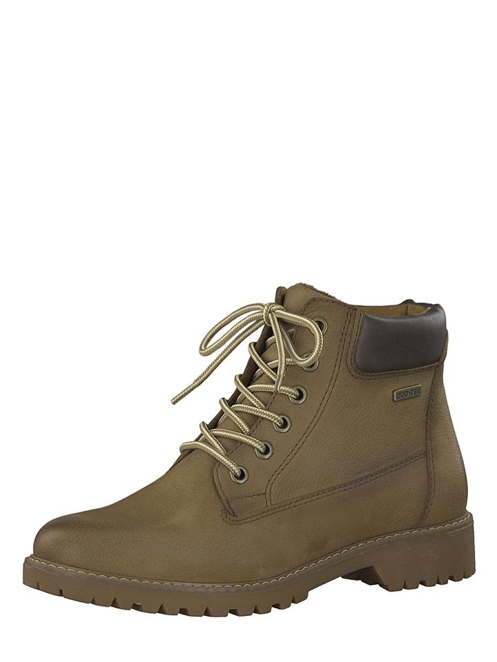 Tamaris Leder-Boots in Beige - 51% | Größe 38 | Stiefeletten