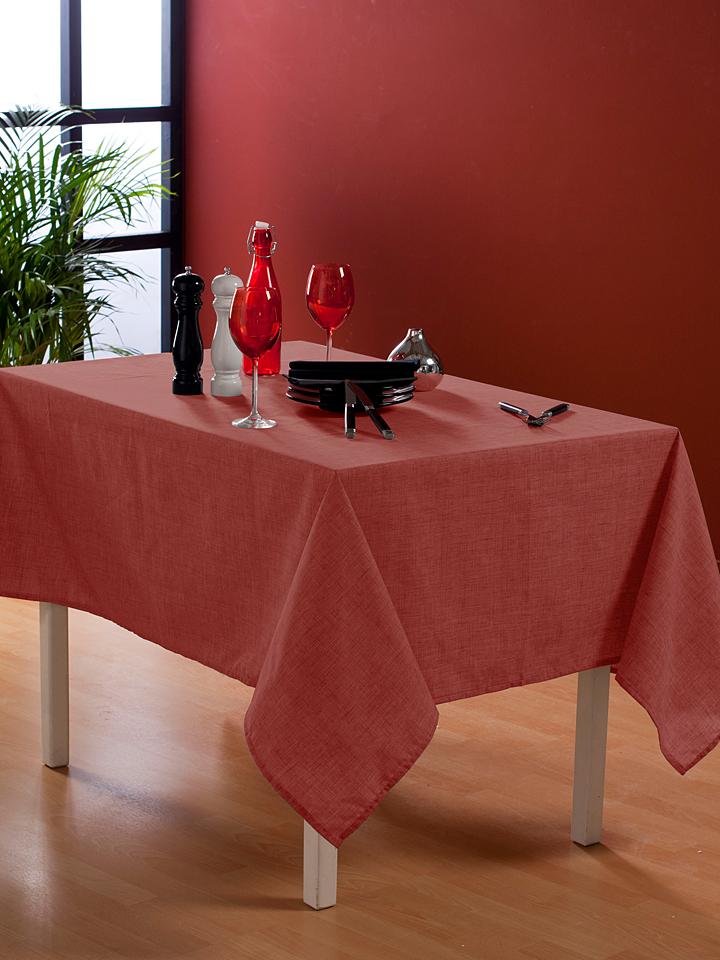 Calitex Wachstuchtischdecke Effet in Rot - 60% | Größe 140 cm | Tischwaesche