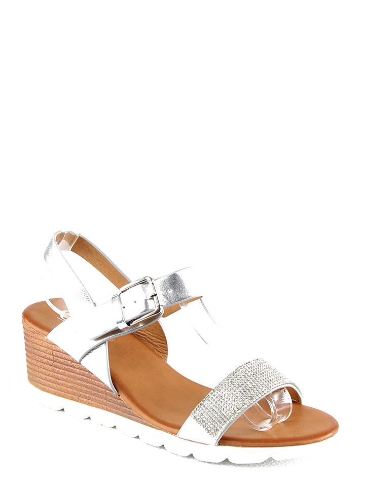 C´M Keilsandaletten in Silber - 59%   Größe 39   Damen sandalen