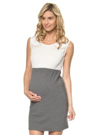 Mama licious Kleid  in creme/ grau