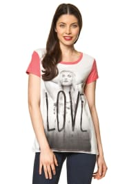 "Vero Moda Shirt ""Love"" in Koralle/ Weiß"