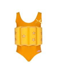 """Beverly Kids Badeanzug """"Sonnenaufgang"""" mit Schwimmhilfe in Orange/ Gelb"""