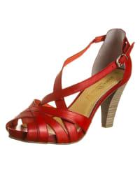 Marco Tozzi Leder-Sandaletten in rot