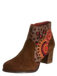 "Desigual Ankle-Boots ""Selva"" in Braun/ Rot"