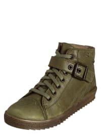 Richter Shoes Leder-Sneakers in oliv