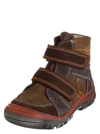 Richter Shoes Leder-Boots in Braun/ Dunkelbraun