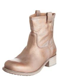 Belmondo Leder-Boots in Beige/ Gold