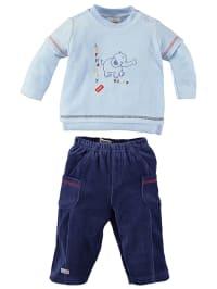 Schnizler Outfit: Pullover und Hose in Hellblau/ Dunkelblau