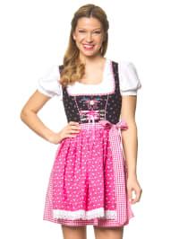 """Stockerpoint Mini-Dirndl """"Babs"""" in Schwarz/ Weiß/ Pink"""