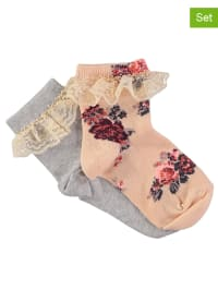 Little Pieces 2er-Set: Socken in Apricot/ Grau