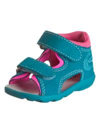 Richter Shoes Leder-Sandalen in Türkis/ Fuchsia
