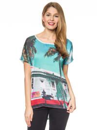 More & More Shirt in Türkis/ Bunt