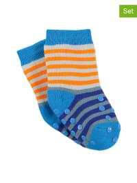Sterntaler 2er-Set: ABS-Socken in Orange/ Hellblau