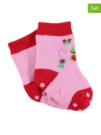 Sterntaler 2er-Set: Stopper-Socken in Rosa/ Rot