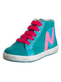 Naturino Leder-Sneakers in Petrol/ Pink