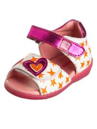 Agatha Ruiz de la Prada Leder-Sandalen in Weiß/ Orange/ Pink