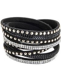 Destellos by Swarovski Elements Leder-Armband mit Swarovski-Kristallen in Schwarz