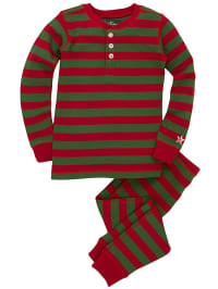 """Hatley Pyjama """"Red And Green Stripes"""" in Rot/ Grün"""