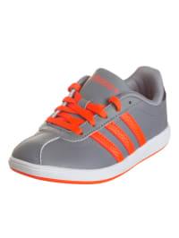 Adidas Leder-Sneakers in Grau/ Rot