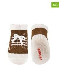SOXO 2er-Set: Socken in Braun/ Weiß