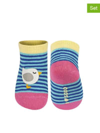 SOXO 2er-Set: Socken in Gelb/ Blau/ Pink