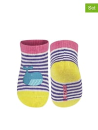 SOXO 2er-Set: Socken in Pink/ Lila/ Gelb