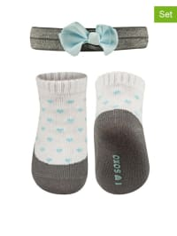 SOXO 2tlg. Set: Socken und Haarband in Grau/ Weiß/ Hellblau