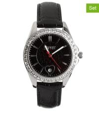 """ESPRIT 2tlg. Set: Uhr und Armband """"Dolce Vita"""" in Schwarz/ Silber"""