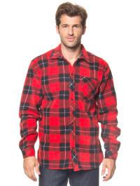 Longboard Fleecehemd in Rot/ Schwarz