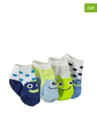 Pitter Patter 4er-Set: Socken in Blau/ Grün/ Weiß