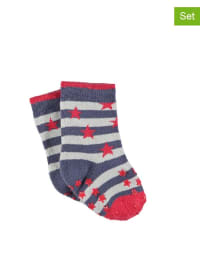 Sterntaler 2er-Set: Anti-Rutsch-Socken in Dunkelblau/ Weiß/ Rot