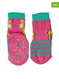 Sterntaler 2er-Set: Anti-Rutsch-Socken in Pink/ Türkis