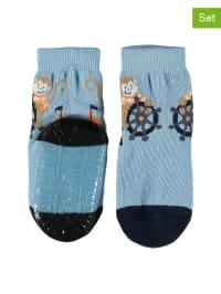 Sterntaler 2er-Set: Anti-Rutsch-Socken in Hellblau/ Dunkelblau