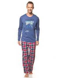 Jockey Pyjama in Blau/ Rot/ Weiß