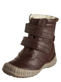POM POM Leder-Boots in Braun